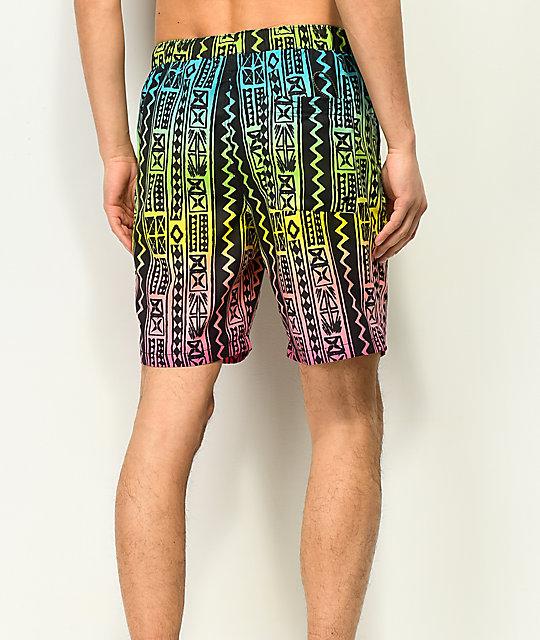 272f0b0bfe Empyre Grom Black & Neon Geo Print Elastic Waist Board Shorts | Zumiez