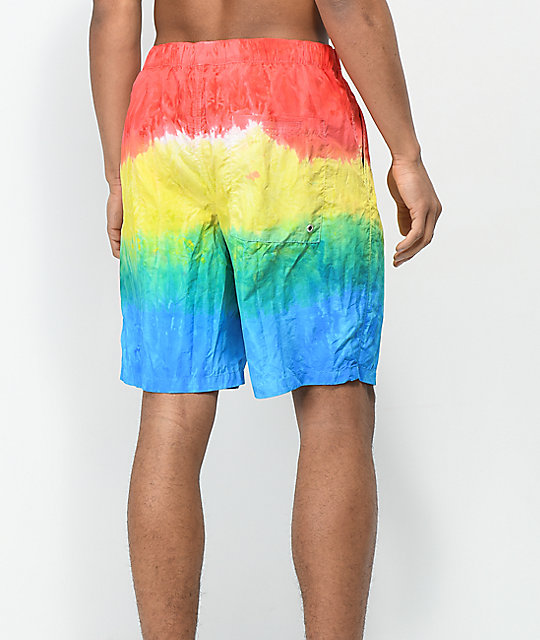 Empyre Grom Red & Blue Tie Dye Elastic Waist Board Shorts