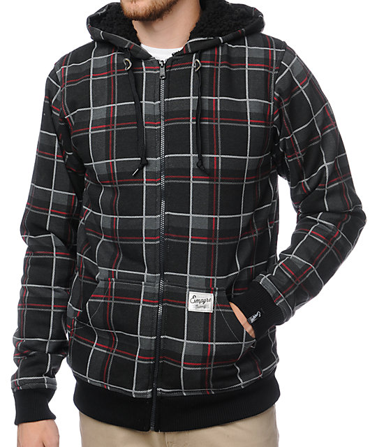 Empyre Grudge Black Plaid Sherpa Fleece Hoodie