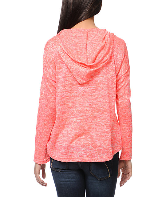 Empyre Hacci Neon Pink Knit Pullover Hoodie