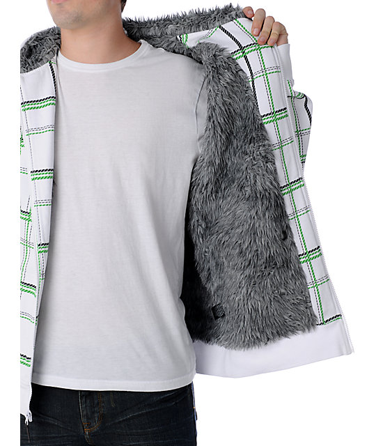 Empyre Haighter White & Green Sherpa Hoodie