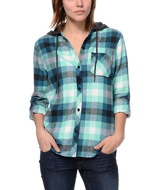 Empyre Hampton Green Buffalo Plaid Hooded Flannel Shirt  c12eab27d3b
