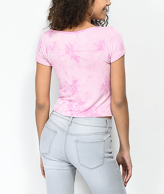 Empyre Hawn Pink Tie Dye Lace Up Top