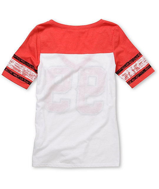 Empyre Hayes Coral Red & White Football V-Neck T-Shirt