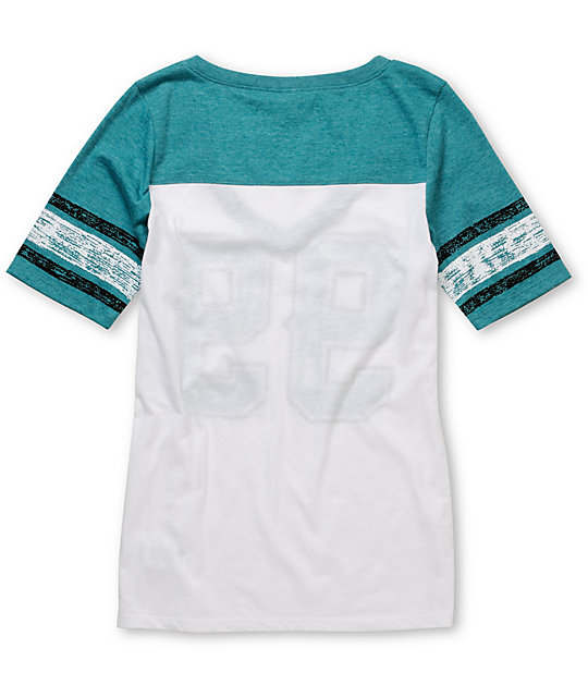 Empyre Hayes Turquoise & White Football V-Neck T-Shirt