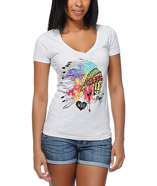 Empyre Head Dress Heather White V-Neck T-Shirt