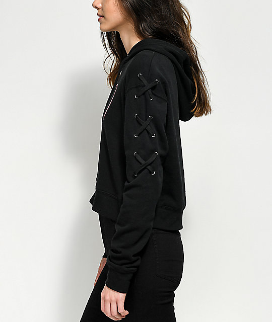Empyre Heart Lace Up Sleeve Black Hoodie