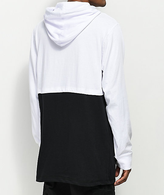 Empyre Heat White & Black Hooded Long Sleeve T-shirt