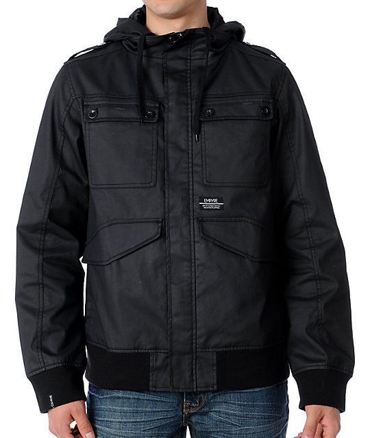 Empyre Helmsman Black Waxed Mens Bomber Jacket