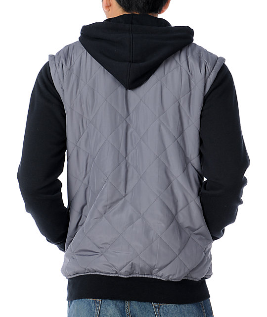 Empyre Highland Grey & Black Quilted Vest Hoodie