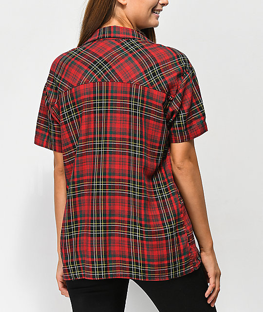 Empyre Hilo Red Tartan Plaid Short Sleeve Shirt