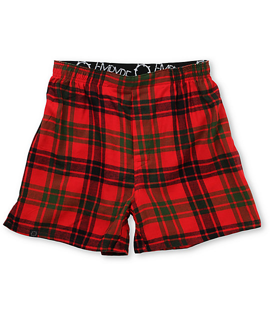 Empyre Ho X3 Red & Green Plaid Boxers