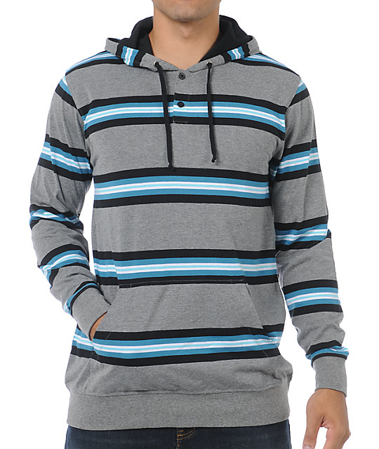 Empyre Hooky Grey Stripe Henley Pullover Hooded Shirt