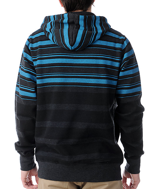 Empyre Icon Blue & Charcoal Striped Pullover Hoodie