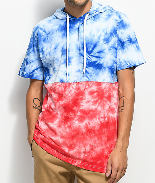 Empyre Inked Red, White & Blue Tie Dye Short Sleeve Hooded Shirt