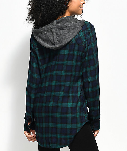 Empyre Jai Blue & Green Hooded Flannel