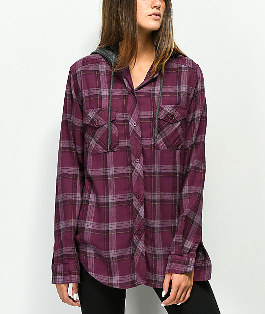 Empyre Jai Burgundy Hooded Flannel Shirt