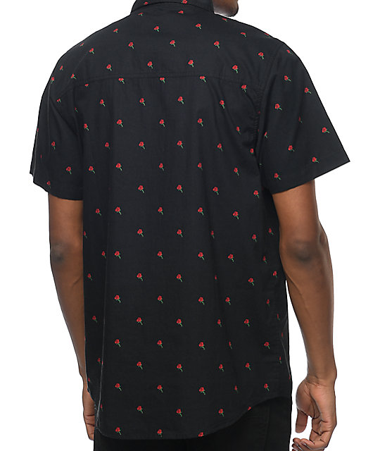 Empyre James Rose Black Short Sleeve Button Up Shirt