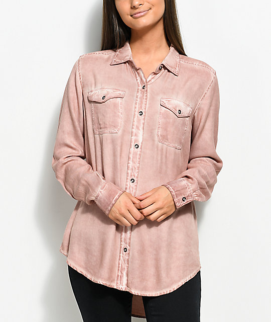 58a2bda577bf Empyre Jamie Light Pink Pigment Wash Button Up Shirt | Zumiez