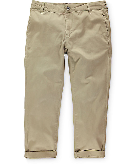 Empyre Jay Khaki Cropped Chino Pants ...