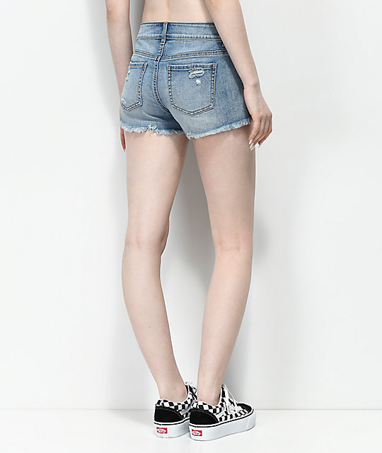 Empyre Jenna Basic Distressed Light Wash Shorts