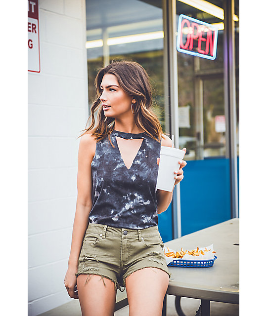Empyre Jenna Olive Destructed Shorts