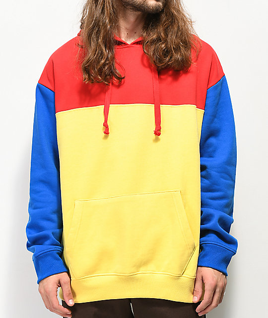 empyre jester red blue yellow colorblock hoodie zumiez