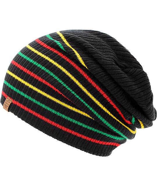 dd3146a5 Empyre Juliet Black Rasta Stripe Slouch Beanie | Zumiez