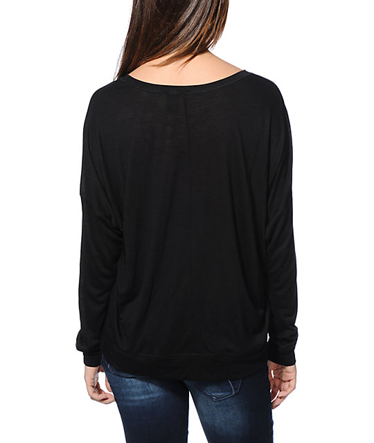 Empyre Kaden Dream Catcher Black Long Sleeve Dolman Top