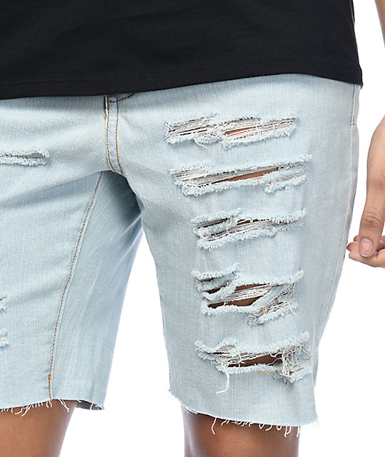 Empyre Kali Destroyed Boyfriend Light Wash Denim Shorts