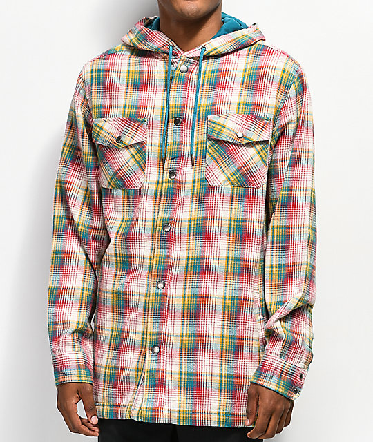 Empyre Keith Sunset Blue and White Hooded Flannel Shirt