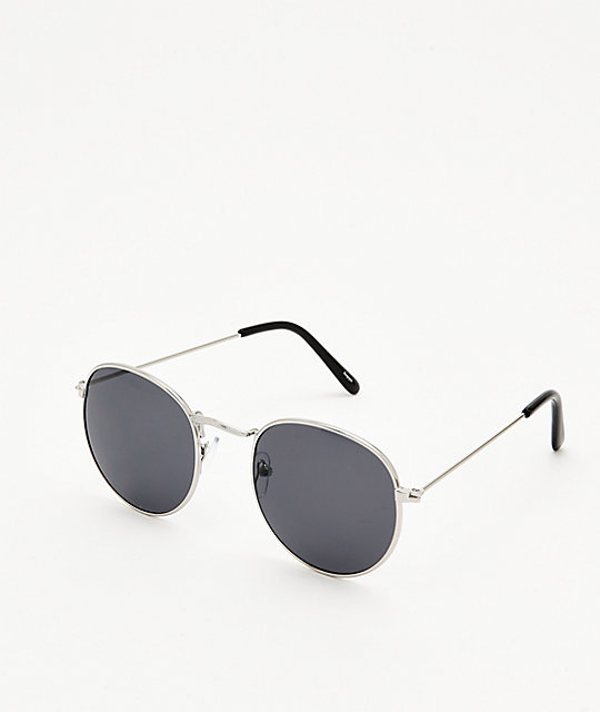 Empyre Kel Silver & Black Round Sunglasses
