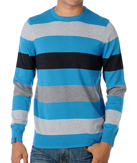 Empyre Knit And Run Blue Striped Crew Neck Sweater