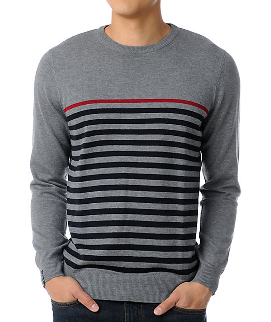 Empyre Kruger Grey Striped Crew Neck Sweater