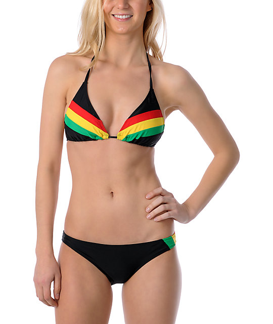 Empyre Lacovia Rasta Striped Bikini Bottom