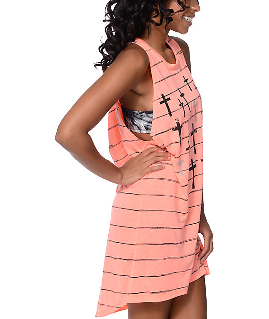 Empyre Lexie Crosses Coral Open Back Tank Dress