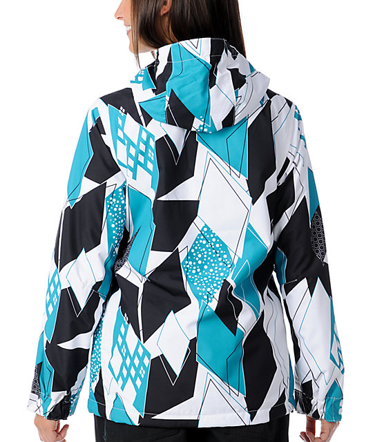 Empyre Liberty White & Teal Geo 10K Snowboard Jacket