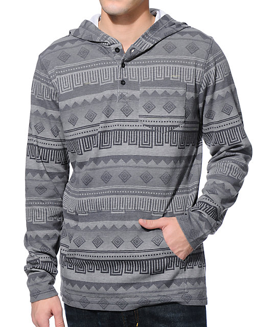 Empyre Lockitdown Charcoal Hooded Henley Thermal Pocket Shirt