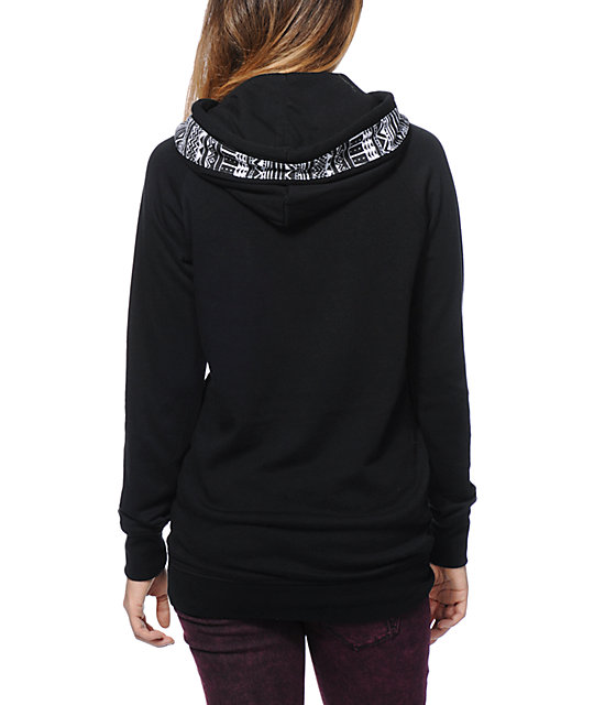 Empyre Long Beach Tribal Print Black Pullover Hoodie