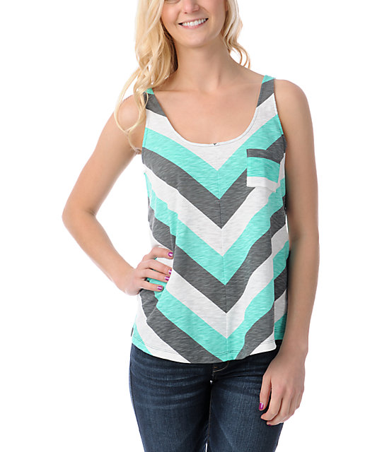 Empyre Loni Chevron Stripe Crop Tank Top