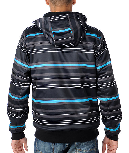 Empyre Losers Win Black & Blue Stripe Mens Tech Fleece Jacket