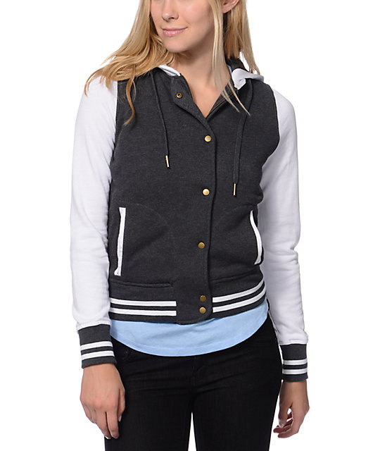 Empyre Madison Charcoal & White Fleece Varsity Jacket