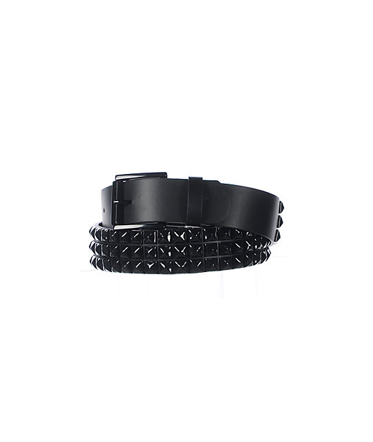 Empyre Main 3 Row Black Pyramid Studded Belt