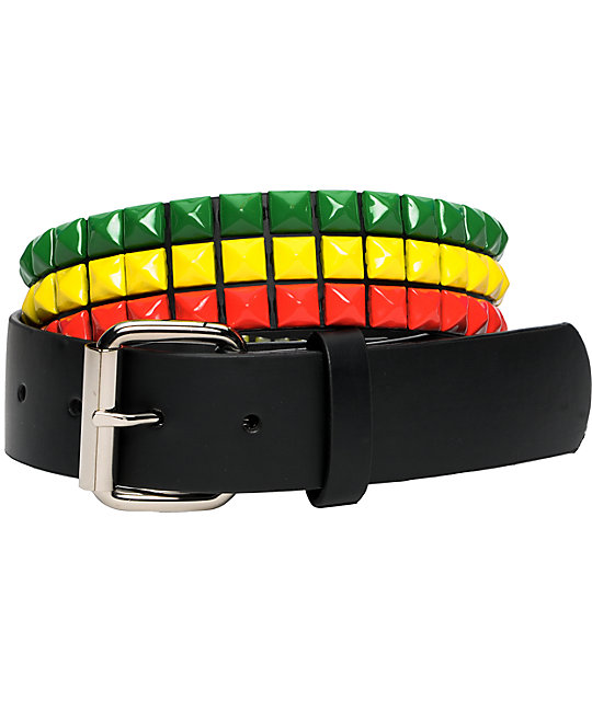 Empyre Main 3 Row Irie Rasta Pyramid Studded Belt