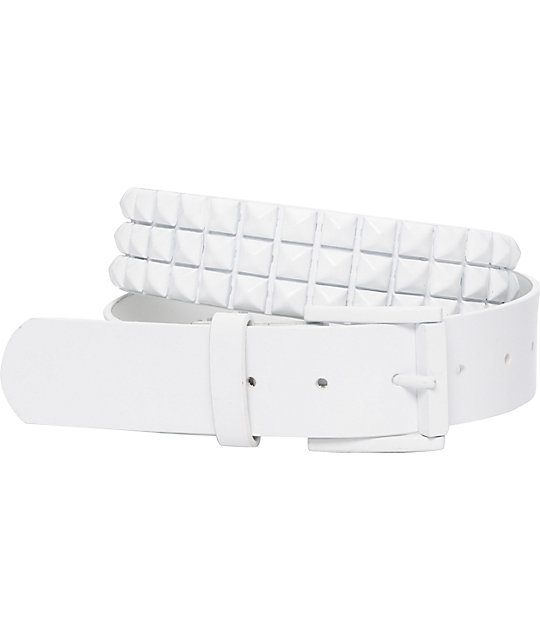 Empyre Main 3 Row White Pyramid Studded Belt