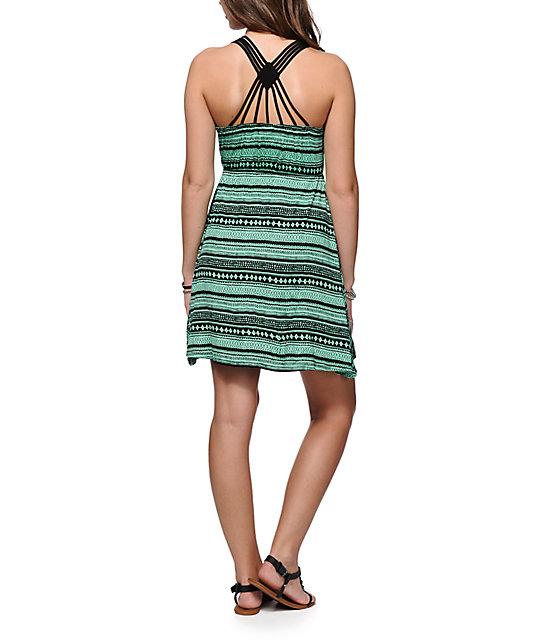 Empyre Maritza Vestido Color Menta Impreso Tribal