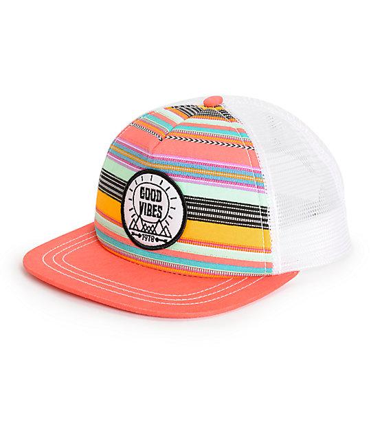 3c3cb4aa1ea Empyre Maya Good Vibes Stripe Trucker Hat