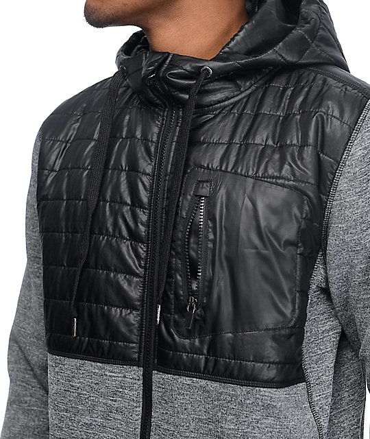 Empyre McMurdo Black Quilted Tech Fleece Zip Up Hoodie