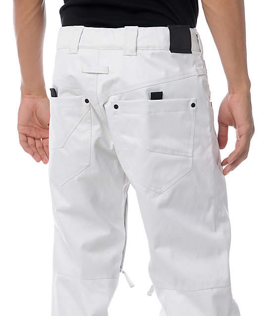 Empyre Mens Skeletor White Denim 10K Mens Snowboard Pants