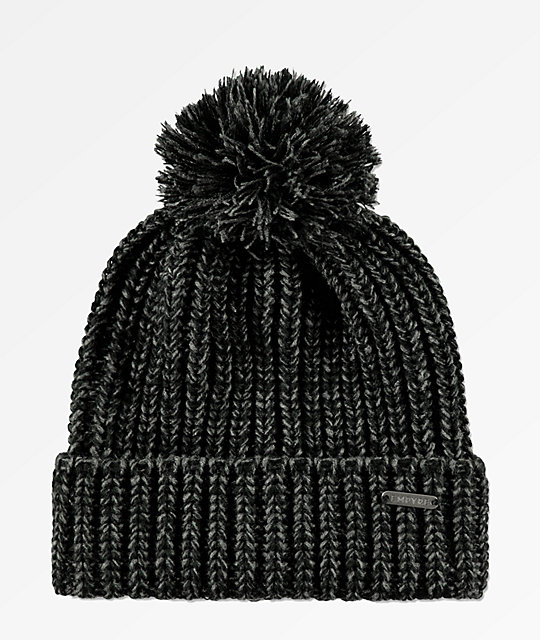 Empyre Morley Charcoal & Black Pom Beanie